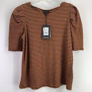Who What Wear Striped Brown Tee Large #C1-087